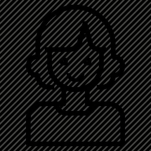 avatar, curl, hair, short, woman icon