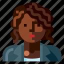 afro, avatar, business, human, portrait, profile, woman
