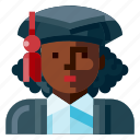 afro, avatar, female, graduated, portrait, profile, student