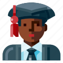 afro, avatar, graduated, male, portrait, profile, student