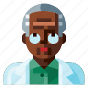 afro, avatar, human, male, portrait, profile, scientist icon