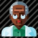 afro, avatar, human, male, portrait, profile, scientist