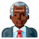 afro, avatar, business, man, old, portrait, profile