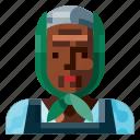 afro, avatar, farmer, female, old, portrait, profile icon