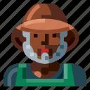 afro, avatar, farmer, male, old, portrait, profile