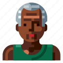 afro, avatar, man, old, portrait, profile, sport