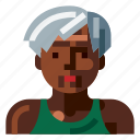afro, avatar, old, portrait, profile, sport, woman