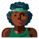 afro, avatar, human, portrait, profile, sport, woman