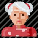 asian, avatar, human, old, portrait, profile, woman