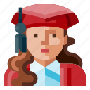 avatar, female, graduated, human, portrait, profile, student