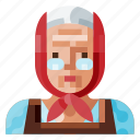 avatar, farmer, female, human, old, portrait, profile icon