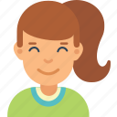 avatar, girl, kid, ponytail, smile, woman, young