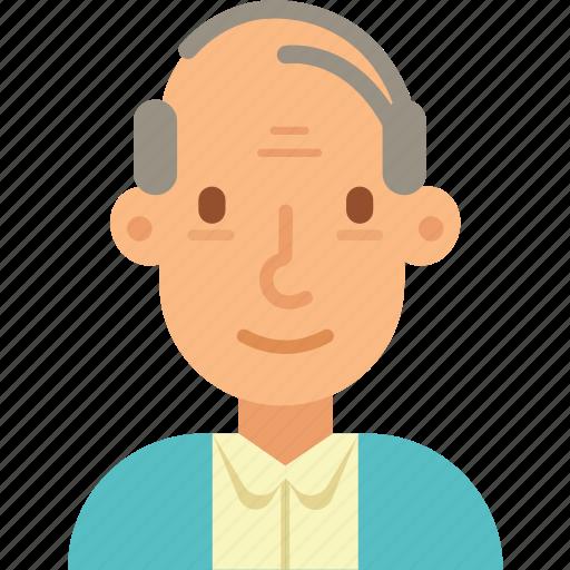 avatar, bald, man, old, senior icon