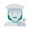 avatar, chef, face, profile, user, woman icon