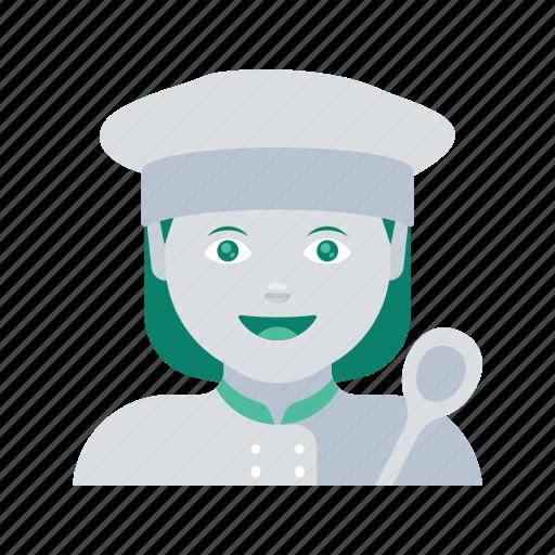 avatar, chef, face, profile, user, woman icon