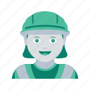 avatar, construction, face, profile, user, woman, worker