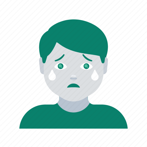 avatar, crying, face, man, profile, user icon