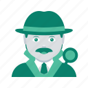 avatar, detective, face, investigator, man, profile, user