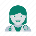 avatar, doctor, face, profile, user, woman icon