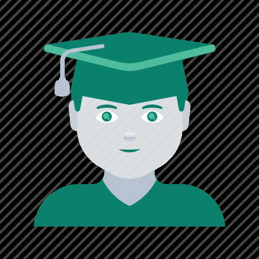 avatar, face, graduate, man, profile, user icon