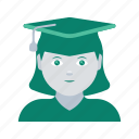 avatar, face, graduate, profile, user, woman icon