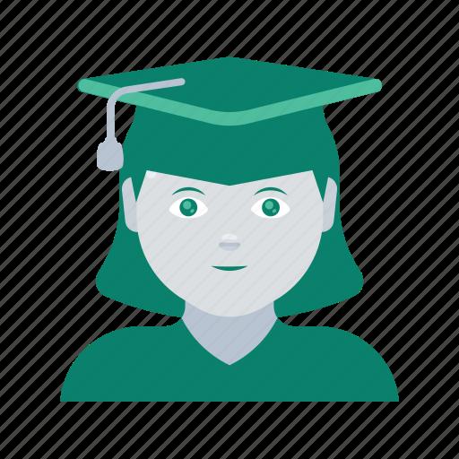 avatar, face, graduate, profile, user, woman icon