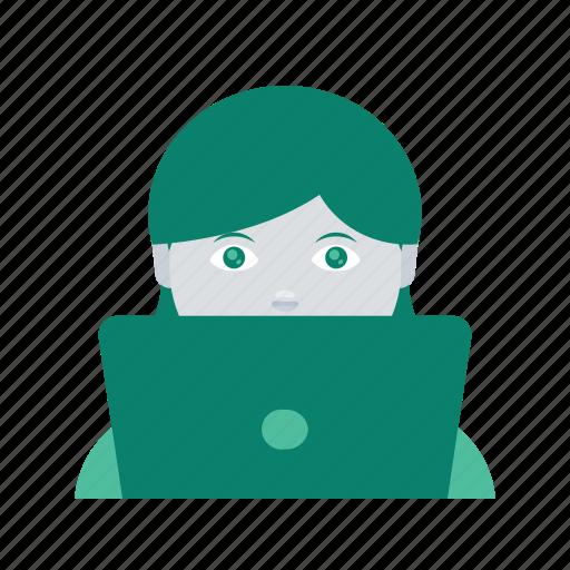 avatar, face, laptop, profile, user, woman icon