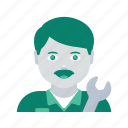 avatar, engineer, face, man, mechanic, profile, user icon