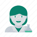 avatar, face, profile, scientist, user, woman icon