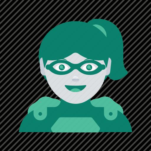 avatar, face, profile, superhero, user, woman icon