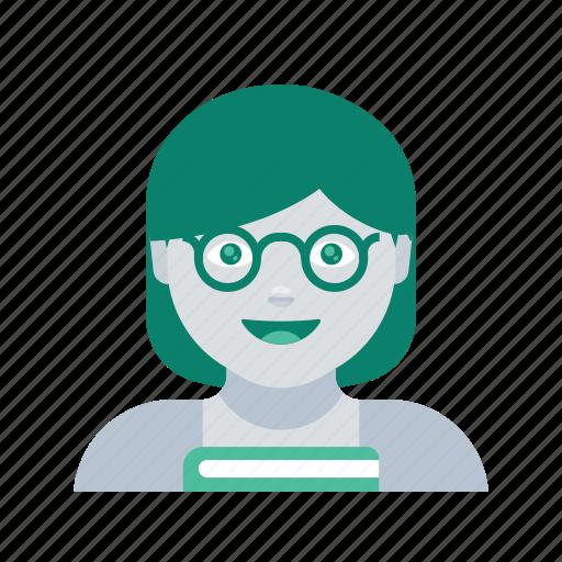 avatar, face, profile, teacher, user, woman icon