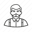 avatar, beard, guy, hipster, man, man with beard, suspenders icon