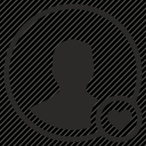 avatar, like, login, love, man, user icon