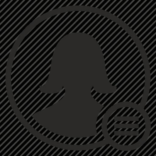 actions, avatar, bar, login, menu, mobile, woman icon