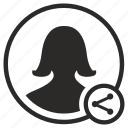 avatar, login, person, share, user, woman icon