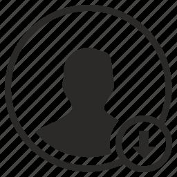 avatar, bottom, down, login, person, user icon