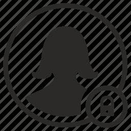 avatar, lock, person, woman icon