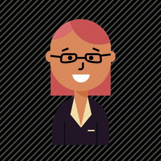 avatar, doctor, glass, professor, profile, user, woman icon