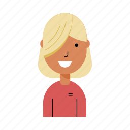 avatar, blonde, profile, smiling, student, user, woman icon