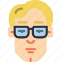 avatars, boy, glasses, male, profile, user icon