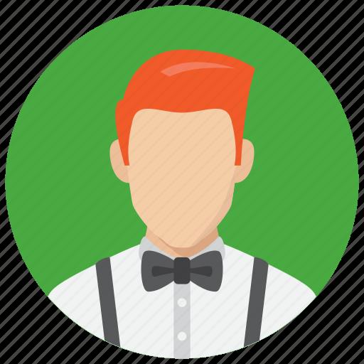 avatar, hairstyle, man, waiter icon