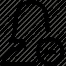 avatar, female, minus, silhouette, woman icon