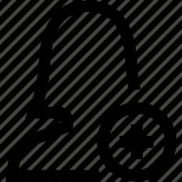 add, avatar, female, plus, silhouette, woman icon