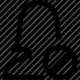 avatar, ban, decline, female, no, silhouette, woman icon
