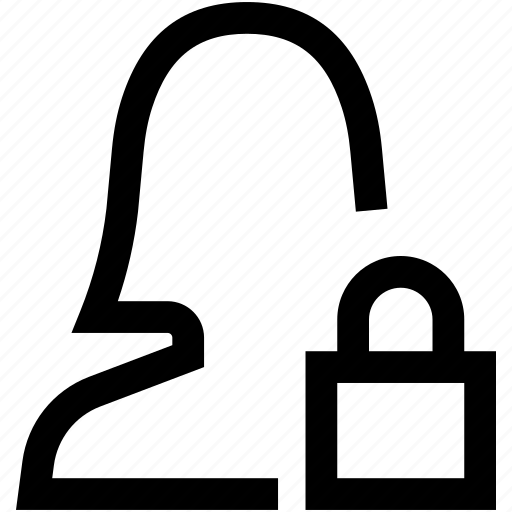 avatar, female, lock, privacy, silhouette, woman icon