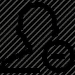 avatar, male, man, minus, silhouette icon