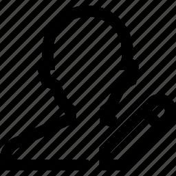 avatar, edit, male, man, pen, profile, silhouette icon