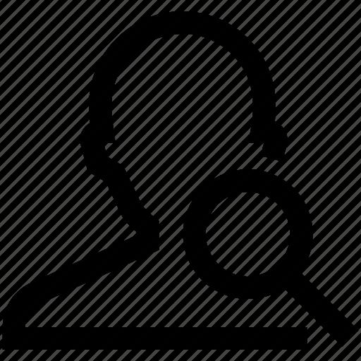avatar, investigate, magnifier, male, man, search, silhouette icon