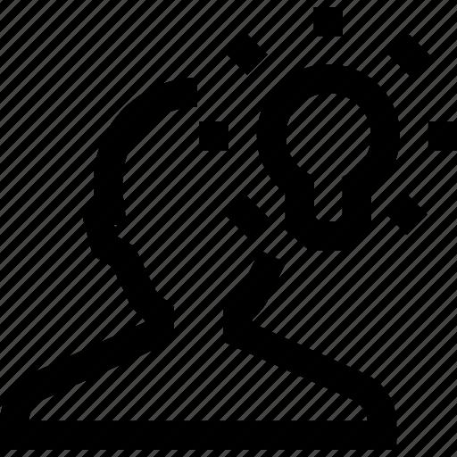 avatar, idea, lamp, male, man, silhouette icon