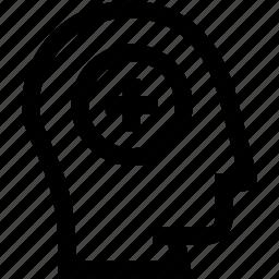 add, avatar, head, plus, profile, silhouette icon